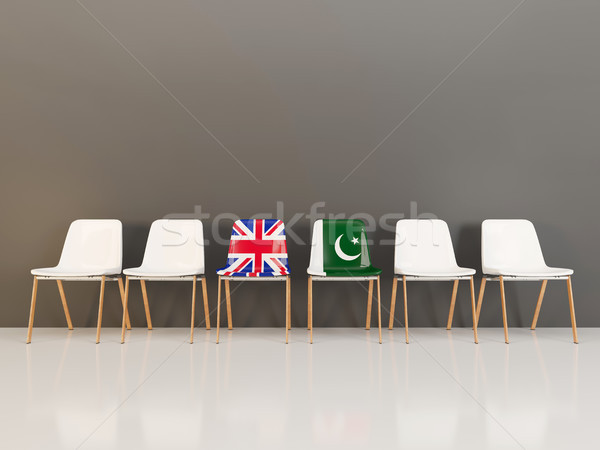 Chairs with flag of United Kingdom and pakistan Stock photo © MikhailMishchenko