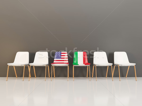 Chairs with flag of usa and italy Stock photo © MikhailMishchenko
