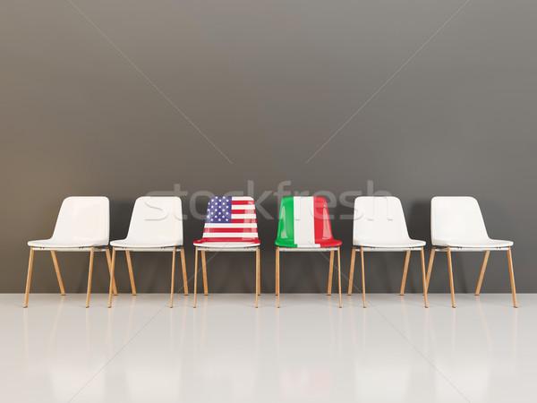 Sedie bandiera USA Italia fila illustrazione 3d Foto d'archivio © MikhailMishchenko