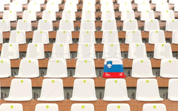 Stadio sede bandiera Slovenia fila bianco Foto d'archivio © MikhailMishchenko