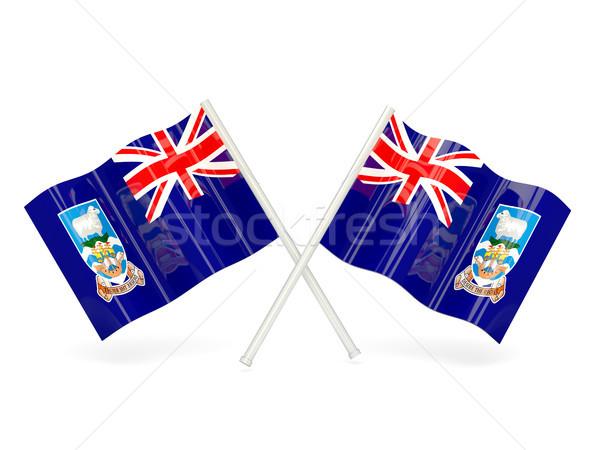 Zászló Falkland-szigetek kettő hullámos zászlók izolált Stock fotó © MikhailMishchenko