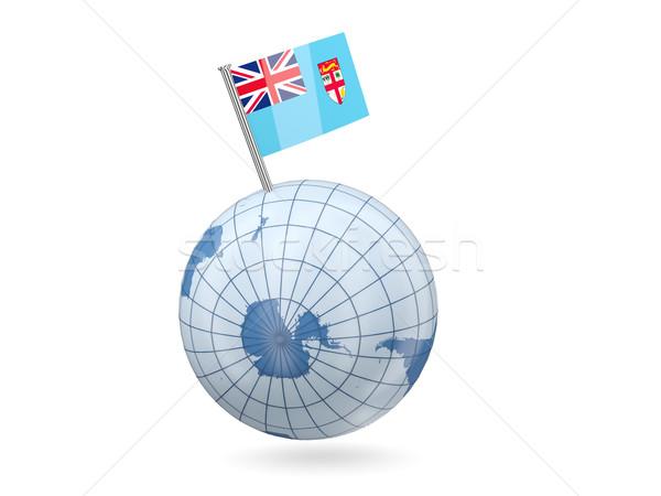 Földgömb zászló Fidzsi-szigetek kék izolált fehér Stock fotó © MikhailMishchenko