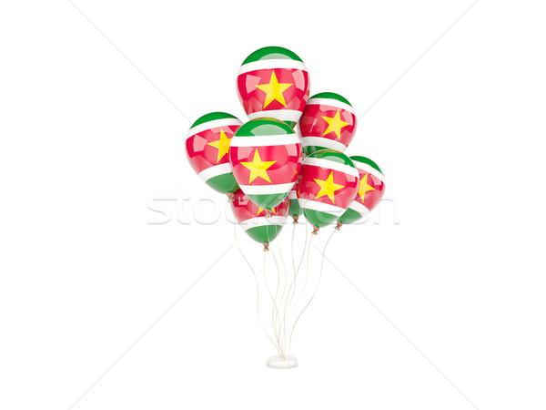 Flying шаров флаг Суринам изолированный белый Сток-фото © MikhailMishchenko