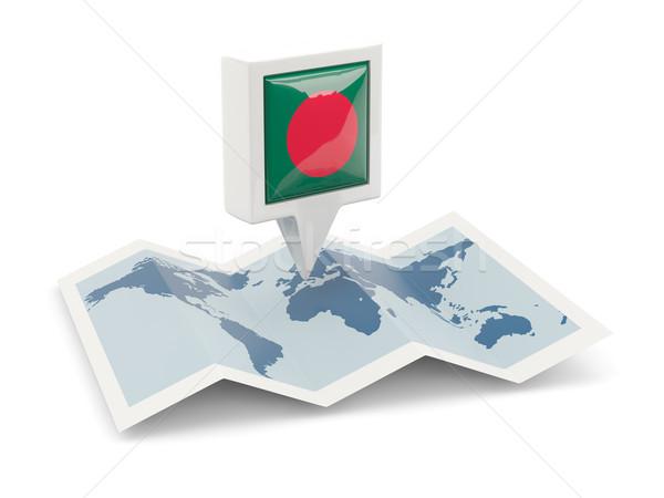 квадратный Pin флаг Бангладеш карта путешествия Сток-фото © MikhailMishchenko