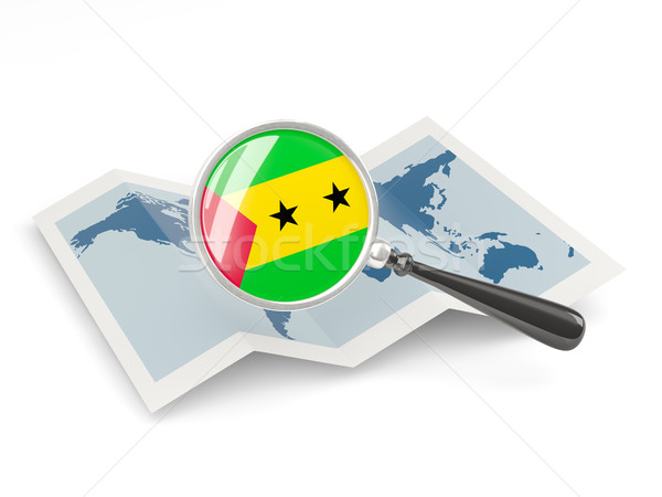 Magnified flag of sao tome and principe with map Stock photo © MikhailMishchenko