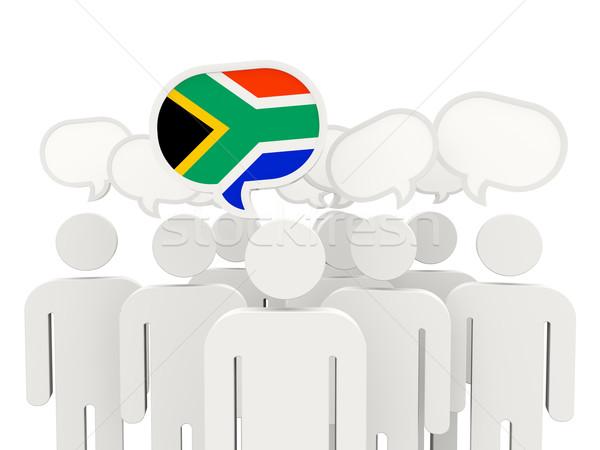 Menschen Flagge Südafrika isoliert weiß Sitzung Stock foto © MikhailMishchenko