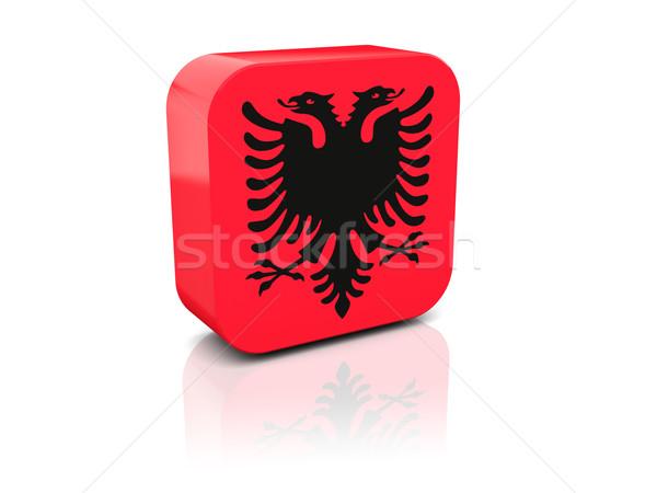 Cuadrados icono bandera Albania reflexión blanco Foto stock © MikhailMishchenko
