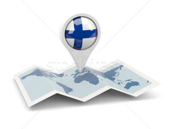Pin bandeira Finlândia mapa viajar branco Foto stock © MikhailMishchenko