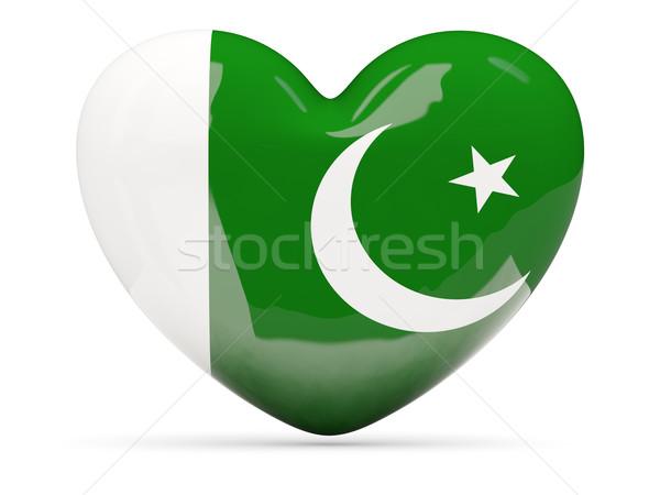 Kalp ikon bayrak Pakistan yalıtılmış Stok fotoğraf © MikhailMishchenko