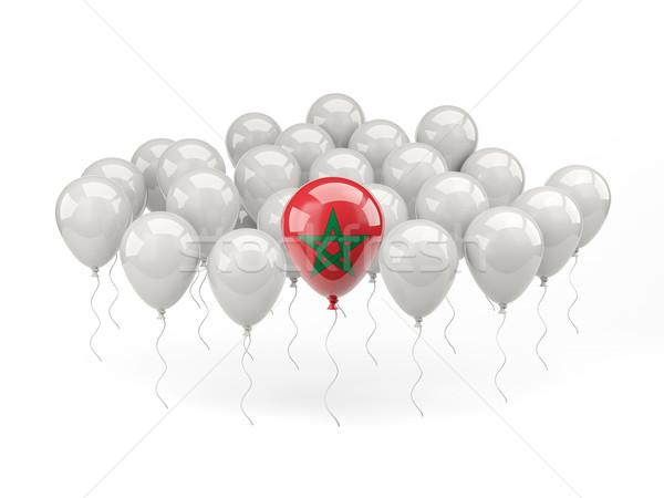 Air ballons pavillon Maroc isolé blanche Photo stock © MikhailMishchenko