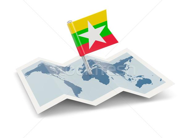 карта флаг Мьянма изолированный белый Сток-фото © MikhailMishchenko
