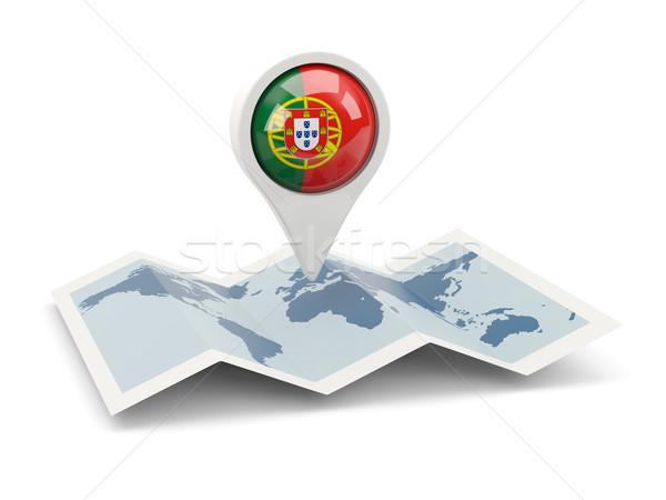 Pin флаг Португалия карта путешествия белый Сток-фото © MikhailMishchenko