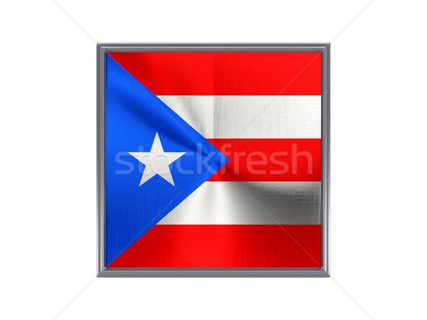 Vierkante metaal knop vlag Puerto Rico geïsoleerd Stockfoto © MikhailMishchenko