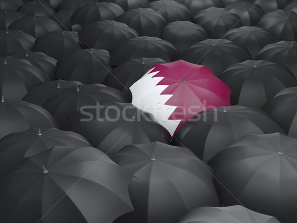 Guarda-chuva bandeira Catar preto guarda-chuvas país Foto stock © MikhailMishchenko
