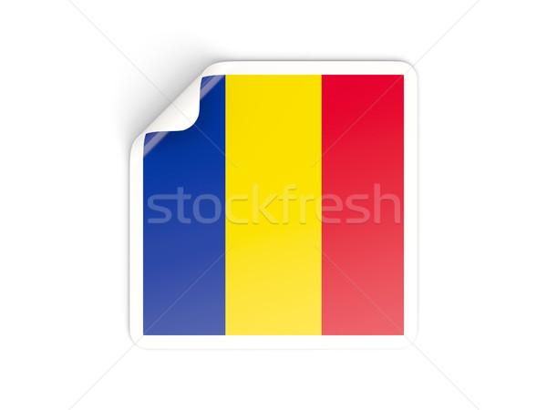 Vierkante sticker vlag Roemenië geïsoleerd witte Stockfoto © MikhailMishchenko