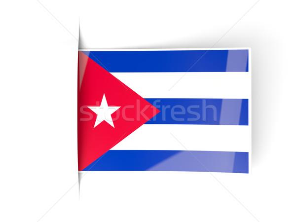 квадратный Label флаг Куба изолированный белый Сток-фото © MikhailMishchenko