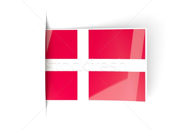 Vierkante label vlag Denemarken geïsoleerd witte Stockfoto © MikhailMishchenko