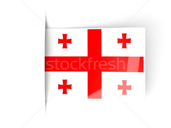 Piazza etichetta bandiera Georgia isolato bianco Foto d'archivio © MikhailMishchenko
