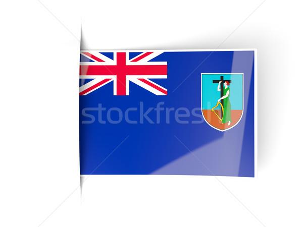 Square label with flag of montserrat Stock photo © MikhailMishchenko