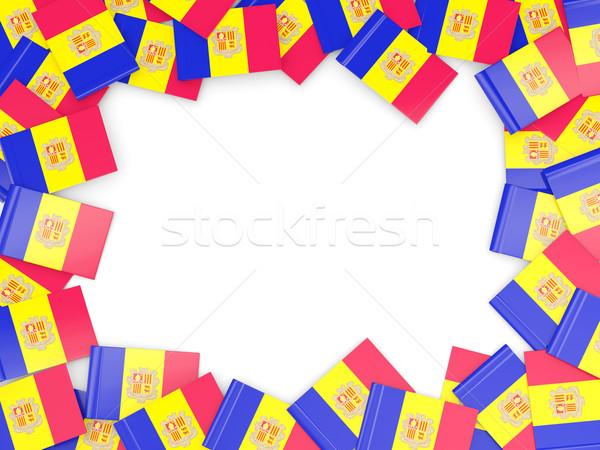 Rahmen Flagge Andorra isoliert weiß Stock foto © MikhailMishchenko