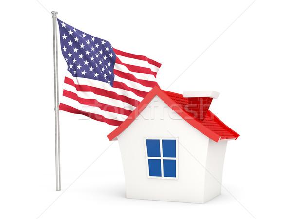 Ev bayrak Amerika Birleşik Devletleri Amerika yalıtılmış beyaz Stok fotoğraf © MikhailMishchenko