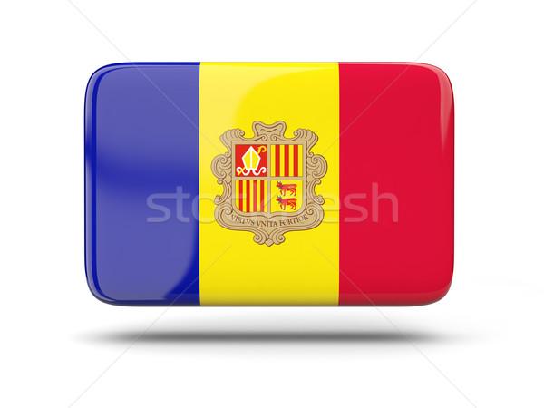 Vierkante icon vlag Andorra schaduw teken Stockfoto © MikhailMishchenko