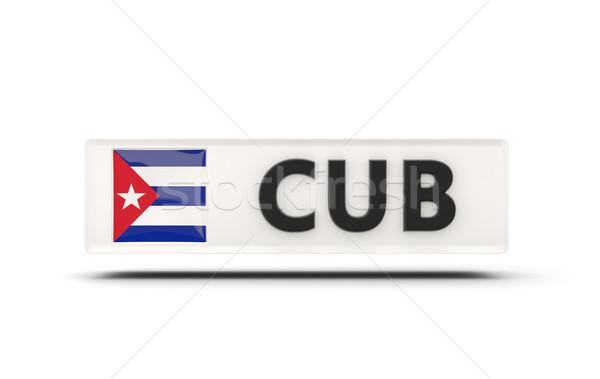 Piazza icona bandiera Cuba iso codice Foto d'archivio © MikhailMishchenko