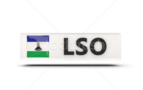 квадратный икона флаг Лесото iso Код Сток-фото © MikhailMishchenko