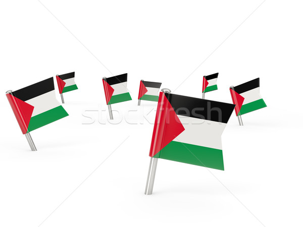 Square pins with flag of palestinian territory Stock photo © MikhailMishchenko