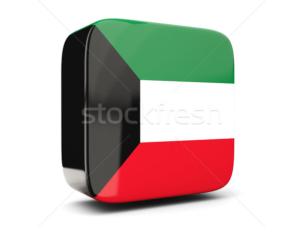 Praça ícone bandeira Kuweit ilustração 3d isolado Foto stock © MikhailMishchenko