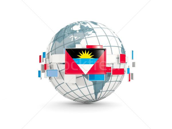 Stock fotó: Földgömb · zászló · izolált · fehér · 3d · illusztráció · térkép