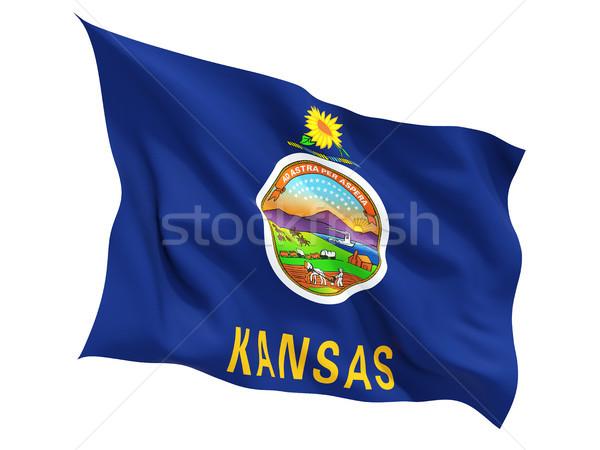 Flag of kansas, US state fluttering flag Stock photo © MikhailMishchenko