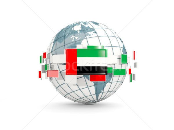 Globe with flag of united arab emirates isolated on white Stock photo © MikhailMishchenko