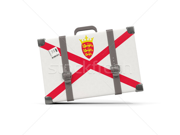 Luggage with flag of jersey. Suitcase isolated on white Stock photo © MikhailMishchenko