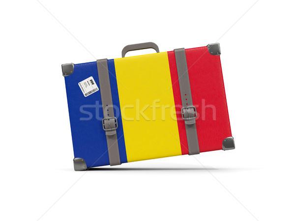 Bagagem bandeira Romênia mala isolado branco Foto stock © MikhailMishchenko