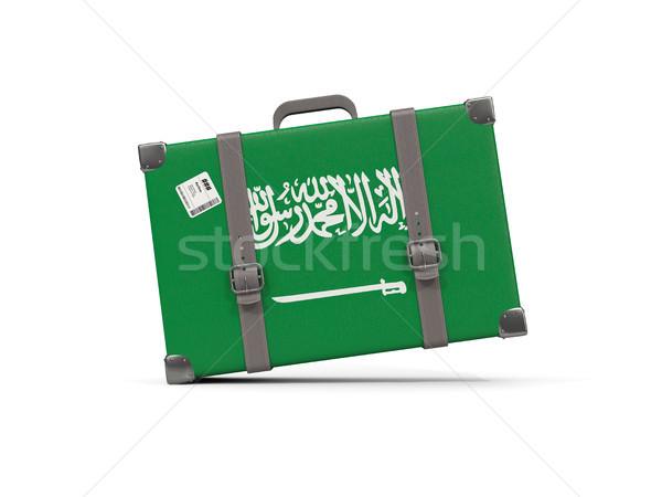 Bagage vlag Saoedi-Arabië koffer geïsoleerd witte Stockfoto © MikhailMishchenko