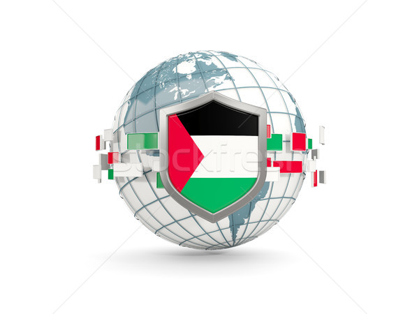 Stock photo: Globe and shield with flag of palestinian territory isolated on