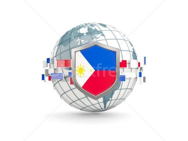 Wereldbol schild vlag Filippijnen geïsoleerd witte Stockfoto © MikhailMishchenko