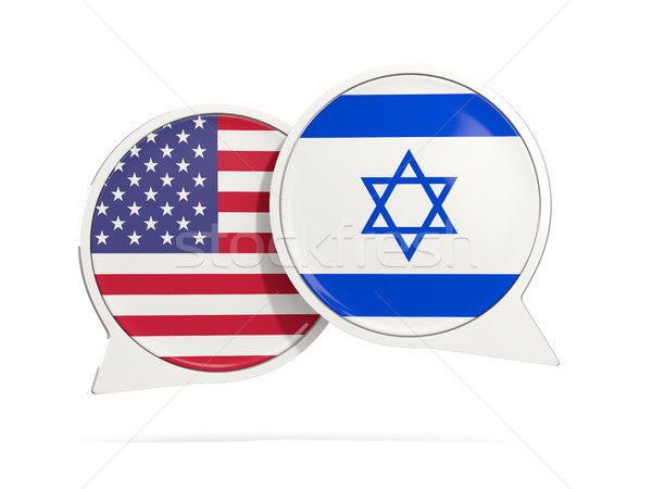 Chat bubbles of USA and Israel isolated on white Stock photo © MikhailMishchenko