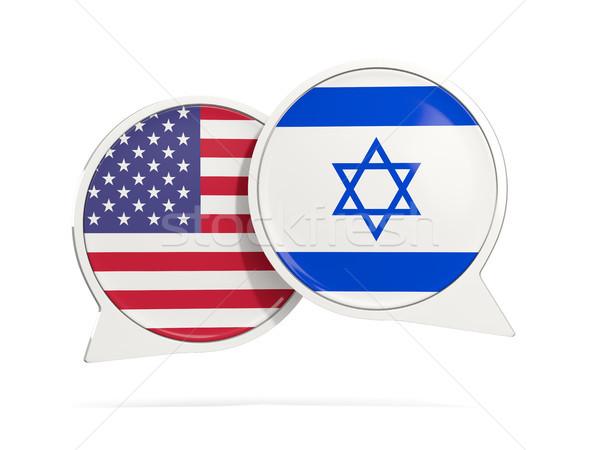 Chat buborékok USA Izrael izolált fehér Stock fotó © MikhailMishchenko