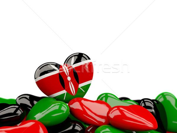 Stock fotó: Szív · zászló · Kenya · felső · szívek · izolált