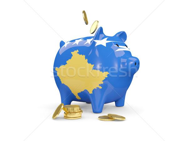 Gordura piggy bank Kosovo dinheiro isolado branco Foto stock © MikhailMishchenko