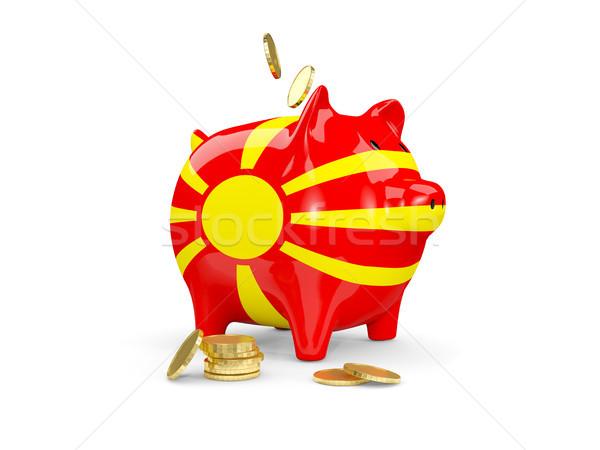 жира Piggy Bank Македонии деньги изолированный белый Сток-фото © MikhailMishchenko