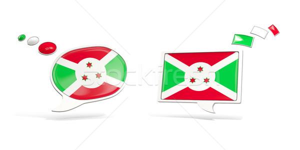 Dois conversar ícones bandeira Burundi praça Foto stock © MikhailMishchenko