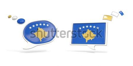 Two chat icons with flag of kosovo Stock photo © MikhailMishchenko