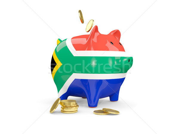 Fat piggy bank with fag of south africa Stock photo © MikhailMishchenko