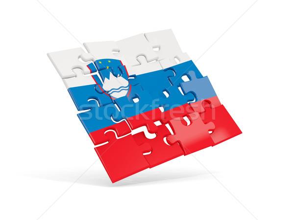 パズル フラグ スロベニア 孤立した 白 3次元の図 ストックフォト © MikhailMishchenko