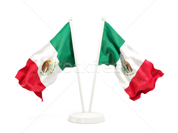 Dos banderas México aislado blanco Foto stock © MikhailMishchenko