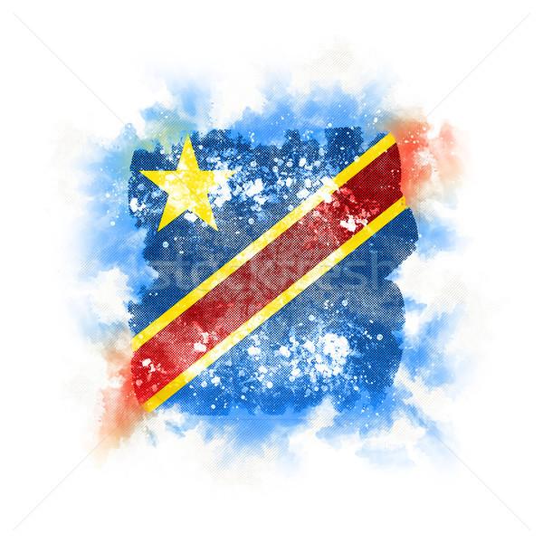 Kare grunge bayrak demokratik cumhuriyet Kongo Stok fotoğraf © MikhailMishchenko