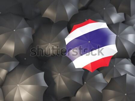 Parapluie pavillon Grèce haut noir parapluies Photo stock © MikhailMishchenko